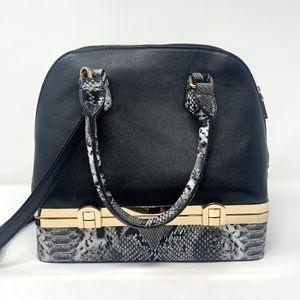 ENVY | Black Handbag with Snakeskin + Gold Detail
